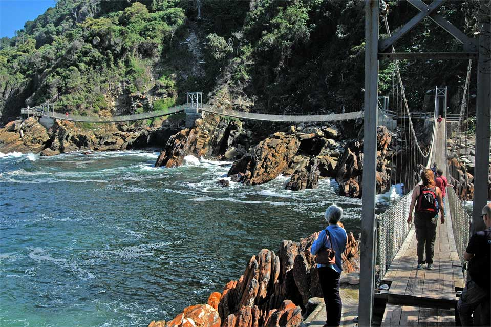 From the other side of the Storms River mouth you have a good view of the other two suspension bridges.